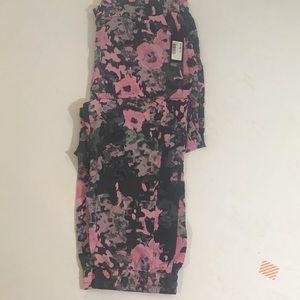 NYDJ Grey Pink Drawstring Pants sz L NWT